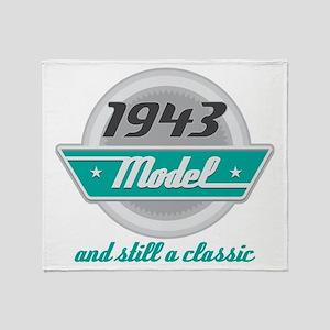 1943 Birthday Vintage Chrome Throw Blanket