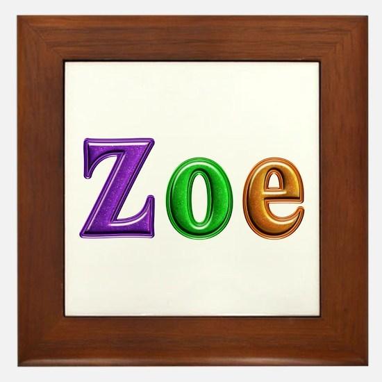 Zoe Shiny Colors Framed Tile