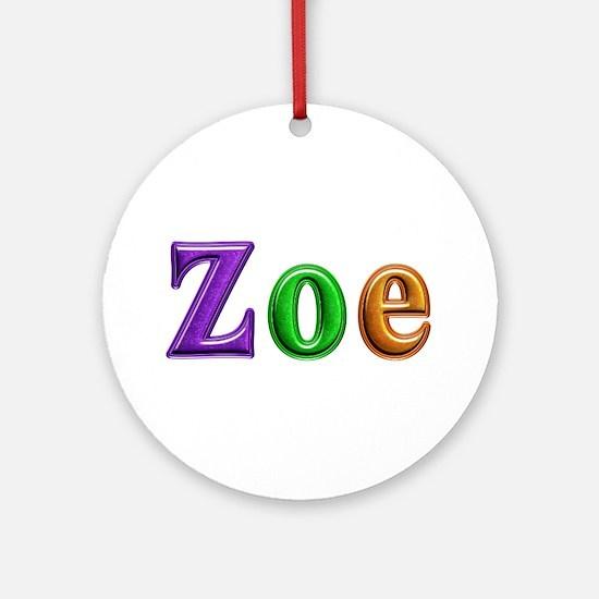 Zoe Shiny Colors Round Ornament