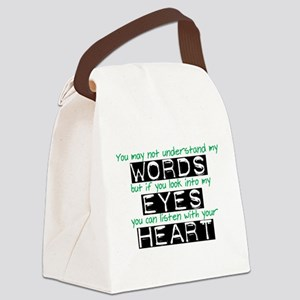 Words Eyes Heart white Canvas Lunch Bag