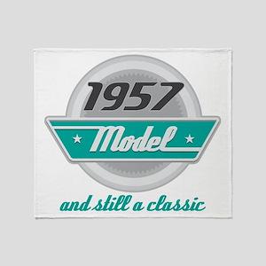 1957 Birthday Vintage Chrome Throw Blanket