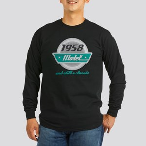 1958 Birthday Vintage Chrome Long Sleeve Dark T-Sh