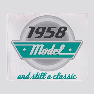 1958 Birthday Vintage Chrome Throw Blanket