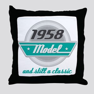 1958 Birthday Vintage Chrome Throw Pillow