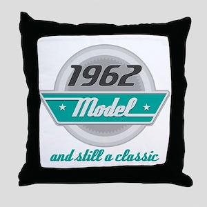 1962 Birthday Vintage Chrome Throw Pillow