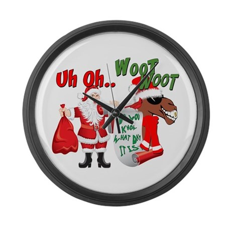 Uh Oh Hump Day Christmas Large Wall Clock