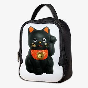 Black Lucky Cat Neoprene Lunch Bag