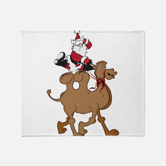 Santa on Hump Day Christmas Camel Throw Blanket