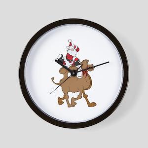 Santa on Hump Day Christmas Camel Wall Clock