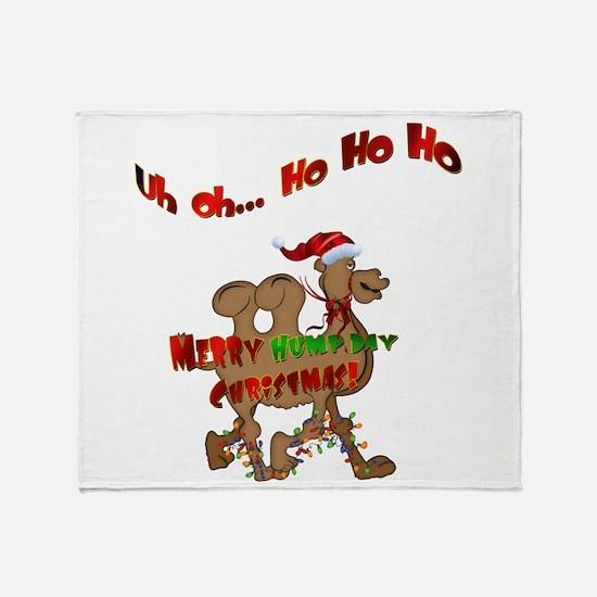 Ho Ho Ho Christmas Hump Day Camel Throw Blanket