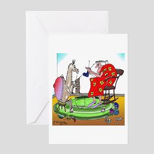 Llama Knitting Greeting Card