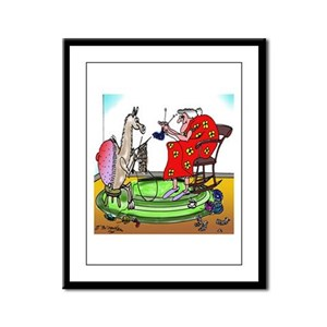 Llama Knitting Framed Panel Print