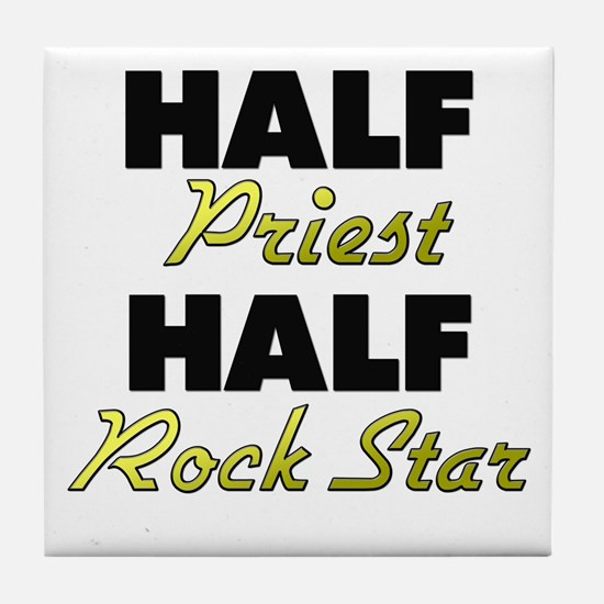 Half Priest Half Rock Star Tile Coaster
