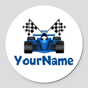 Race Car Personalized Round Car Magnet