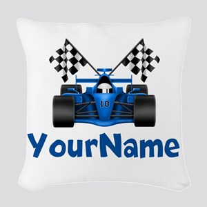 Race Car Personalized Woven Throw Pillow