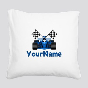 Race Car Personalized Square Canvas Pillow