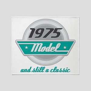 1975 Birthday Vintage Chrome Throw Blanket
