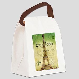 VINTAGE TRAVEL Eiffel Tower Canvas Lunch Bag