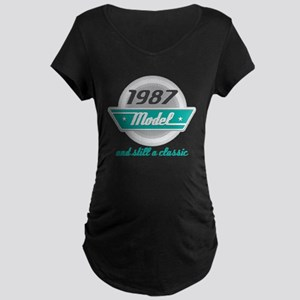 1987 Birthday Vintage Chrome Maternity Dark T-Shir