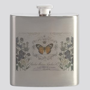 MODERN VINTAGE french butterfly garden Flask
