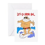 Surfin' Santa Card (box Of 10) Greeting Cards
