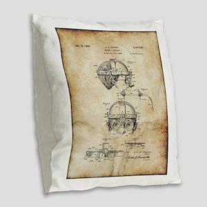 1940 Welders Goggles - Patent Burlap Throw Pillow