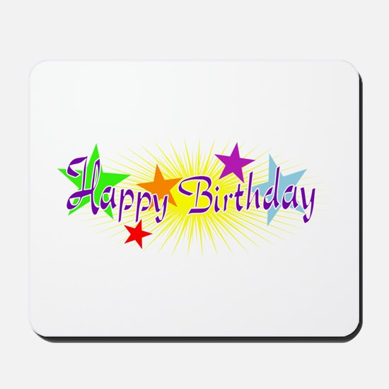 Happy Birthday with Stars Mousepad