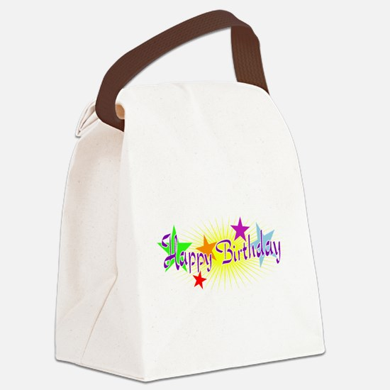 Happy Birthday with Stars Canvas Lunch Bag