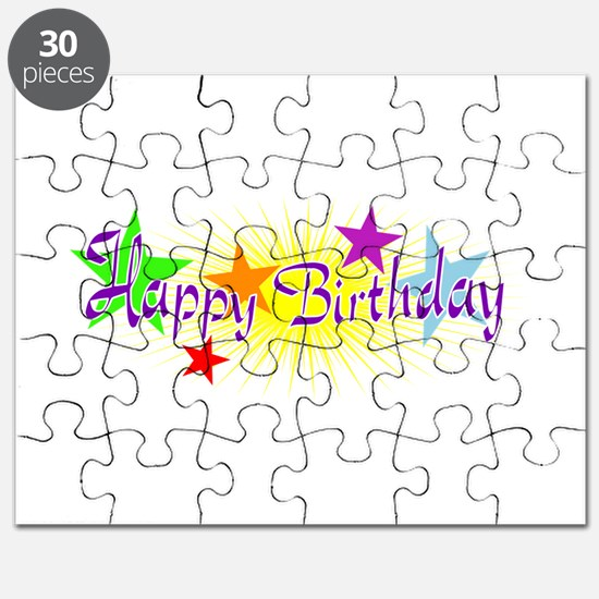 Happy Birthday with Stars Puzzle