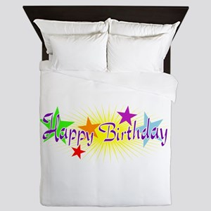 Happy Birthday with Stars Queen Duvet