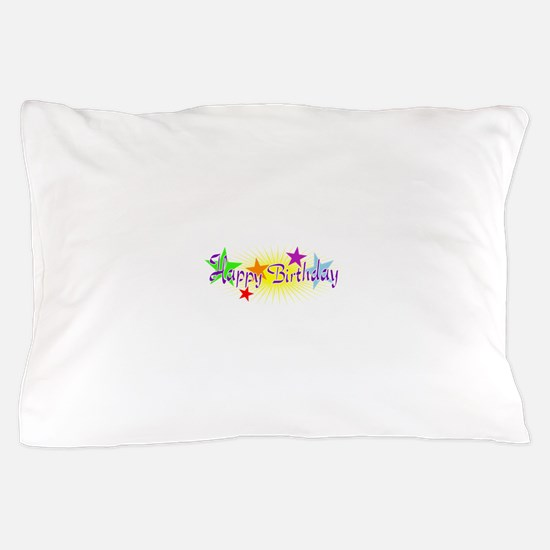 Happy Birthday with Stars Pillow Case