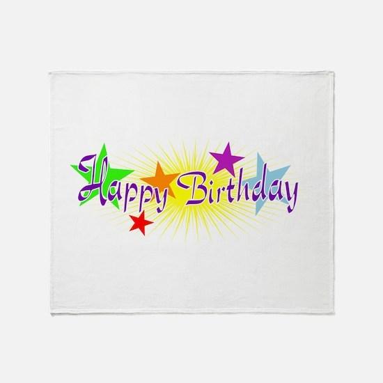 Happy Birthday with Stars Throw Blanket