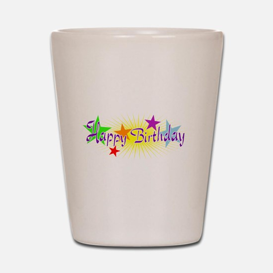 Happy Birthday with Stars Shot Glass
