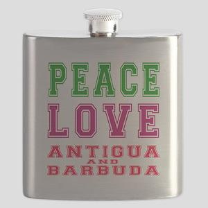 Peace Love Antigua and Barbuda Flask