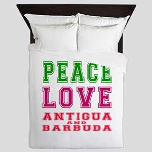 Peace Love Antigua and Barbuda Queen Duvet