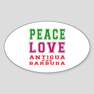 Peace Love Antigua and Barbuda Sticker (Oval)