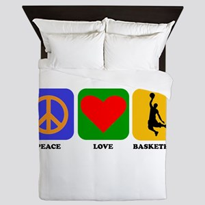 Peace Love Basketball Queen Duvet