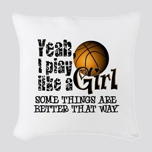 Play Like a Girl - Basketball Woven Throw Pillow