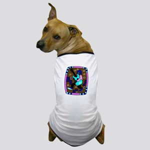 male carrying 5 string bass blue graphic Dog T-Shi