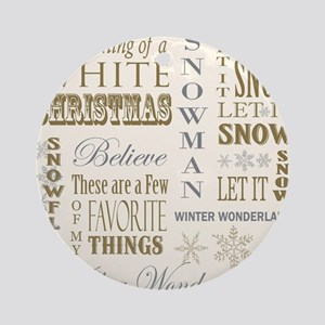 Vintage christmas word collage Ornament (Round)