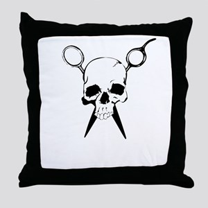 Hair Stylist Skull and Shears Crossbones Throw Pil