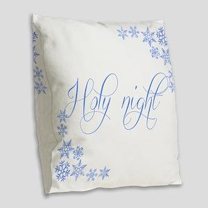 Holy Night Burlap Throw Pillow