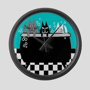 Whimsical Cat Art Large Wall Clock