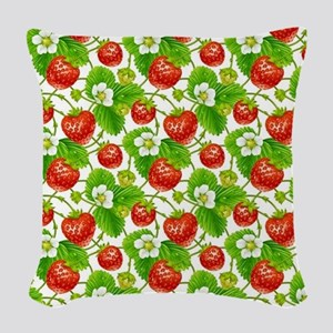 Strawberry Pattern Woven Throw Pillow