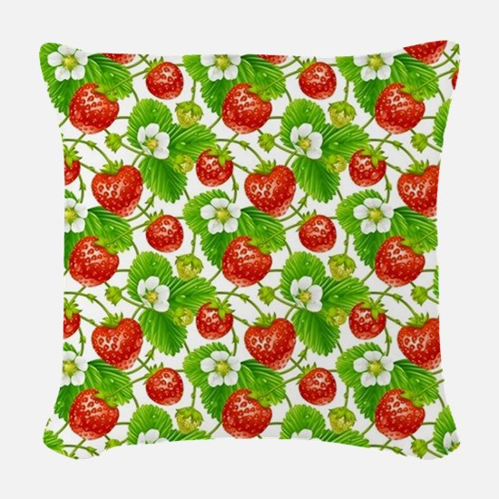 Strawberry Pattern Woven Throw Pillow
