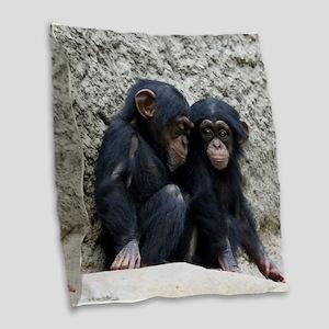 Chimpanzee002 Burlap Throw Pillow