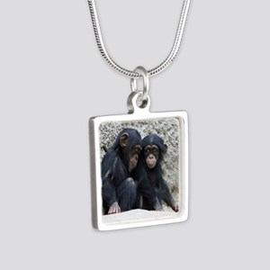Chimpanzee002 Silver Square Necklace