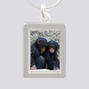 Chimpanzee002 Silver Portrait Necklace