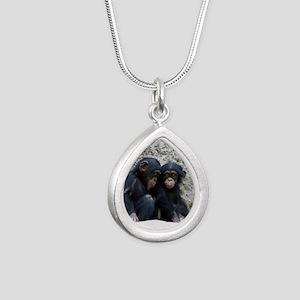 Chimpanzee002 Silver Teardrop Necklace