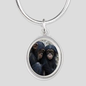 Chimpanzee002 Silver Oval Necklace